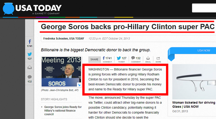 Soros Backs Hillary Clinton