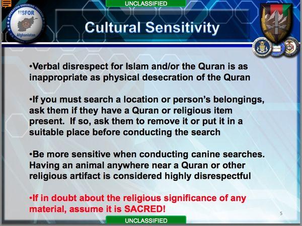 US MILITARY crap rules about Muslim sensitivities