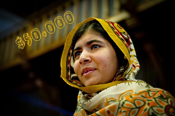 Malala Yousafzai, the 17-year-old Pakistani girl awarded the Nobel Peace Prize this year, has donated $50,000 from a separate prize to rebuild a United Nations school in the Gaza Strip damaged during this summer's war between Israel and Hamas