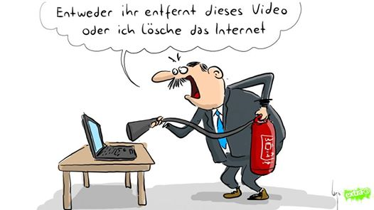 """The broadcaster also posted a caricature depicting the Turkish president with a fire extinguisher in front of a laptop, saying: """"Either you extinguish this video, or I'll extinguish the internet"""""""