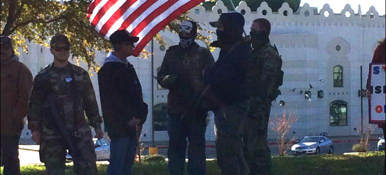 Armed BAIR members at an earlier protest