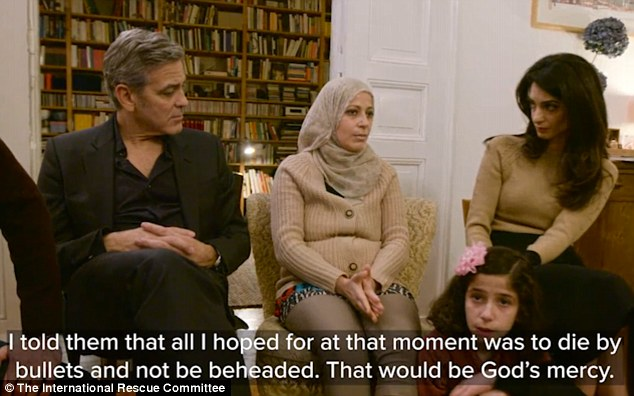 George Clooney told Syrian families America had 'forgotten who we are', as he and wife Amal revealed their anger at his country's failure to tackle the migrant crisis in a video for the International Rescue Committee