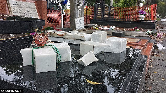 Mr Ibrahim is charged with destroying property worth more than $150,000 of Christian Orthodox graves at Sydney's Rookwood cemetery (pictured)