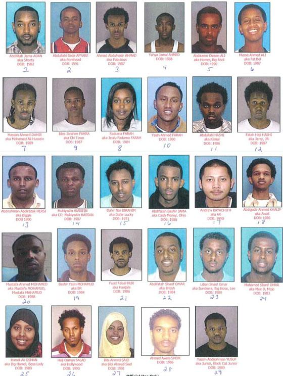 Twin Cities human traffickers enslaved girls younger than 13 for a decade. The people charged are: Abdifitah Jama Adan, 28; Abdullahi Sade Afyare, 19; Ahmad Abnulnasir Ahmad, 23; Yahya Jamal Ahmed, 23; Abdikarim Osman Ali, 22; Musse Ahmed Ali, 23; Hassan Ahmed Dahir, 21; Idris Ibrahim Fahra, 22; Fadumo Mohamed Farah, 25; Yasin Ahmed Farah, 19; Abdullahi Hashi, 24; Fatah Haji Hashi, 23; Abdirahman Abdirazak Hersi, 20; Muhiyadin Hassan Hussein, 22; Dahir Nor Ibrahim, 38; Abdifatah Bashir Jama, 23; Andrew Kayachith, 20; Abdigadir Ahmed Khalif, 24; Mustafa Ahmed Mohamed, 22; Bashir Yasin Mohamud, 26; Fuad Faisal Nur, 24; Abdifatah Sharif Omar, 25; Liban Sharif Omar, 21; Mohamed Sharif Omar, 26; Hamdi Ali Osman, 22; Haji Osman Salad, 20; Bibi Ahmed Said, 19; Ahmed Aweys Sheik, 24; Yassin Abdirahman Yusuf, 21. (Courtesy to Pioneer Press: Obtained from a court filing in US District Court in Tennessee.)