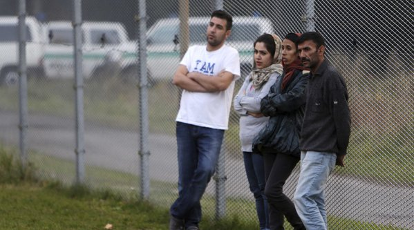 "Iraqi fake ""Christians,"" caught out at the German-Czech border, wait while their bus is turned around to be sent back."