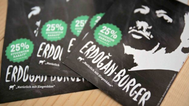 The restaurant's flyers offer students a 25% discount on the Erdogan burger