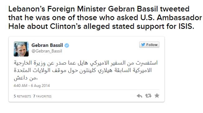 Buzzfeed Provided Tweet from Lebanese Foreign Minister on Hillary Clinton and ISIS