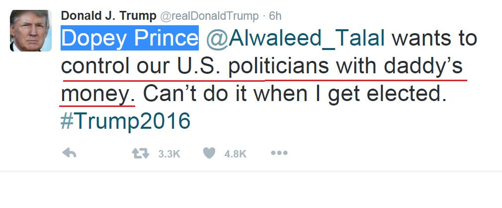 Trumps response to Saudi Fornicator Prince