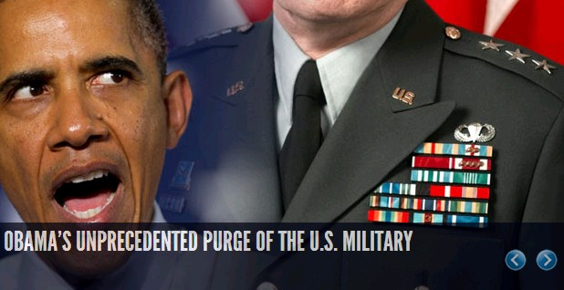 """Obama has managed to purge the military of several hundred high level officers and replaced them with much less qualified individuals to fill some kind of left wing """"diversity"""" quotas"""