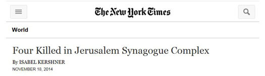 nyt headline four killed synagogue attack