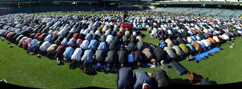 20,000 Muslims declaring their superiority over Christians and Jews in an American baseball stadium field