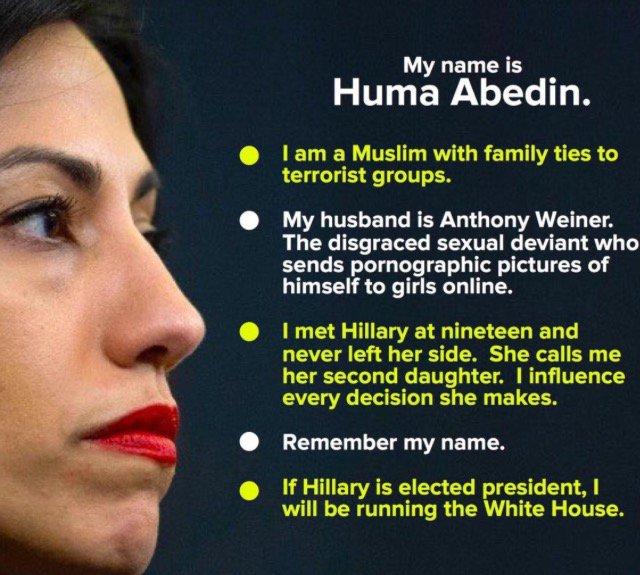 Image result for hillary Clinton and huma treason