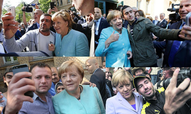 Merkel enjoys taking selfies with Muslim migrants