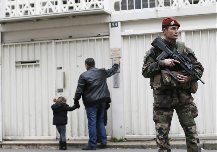 French soldiers stationed in front of Jewish school after Muslim slaughter of Jews at Jewish school in Toulouse