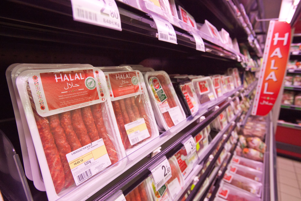 Packages of Halal meat in a supermarket in Nantes, France, 9 March 2012.