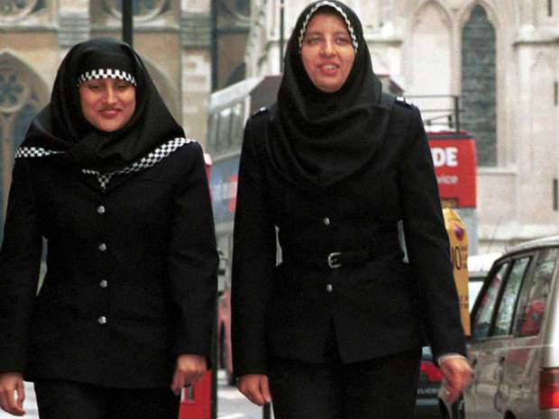 Ugly Muslim headbags are already part of the police force in London. Makes it easier for criminals to strangle them.