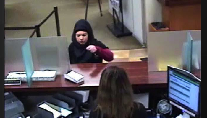 Naked woman bank robbers