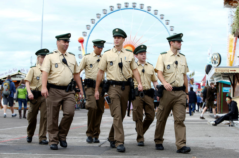 German police officers patrol the grounds of the 182nd Oktoberfest in Munich