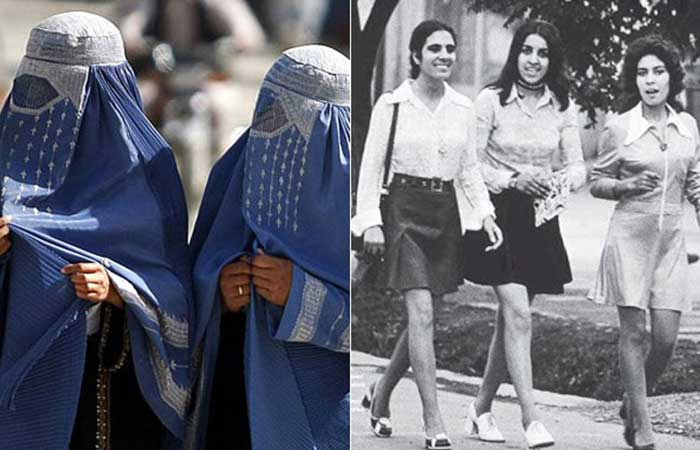 Afghan women now (left) vs Afghan women in the 1970's (right)