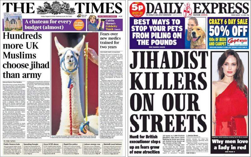 times-and-express-front-pages