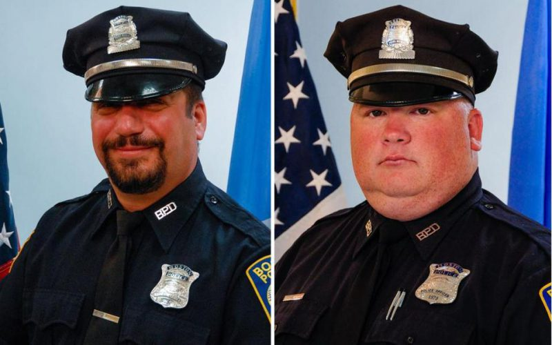 Officer Richard Cintolo (left) and Officer Matthew Morris were wounded during the shootout