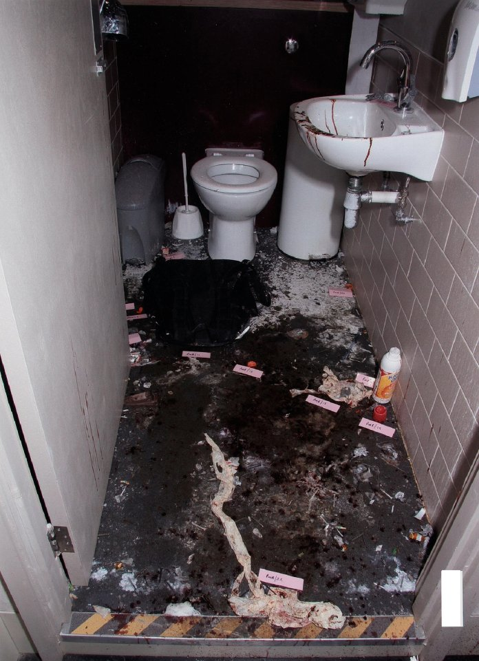 Inside the toilet where explosives went off