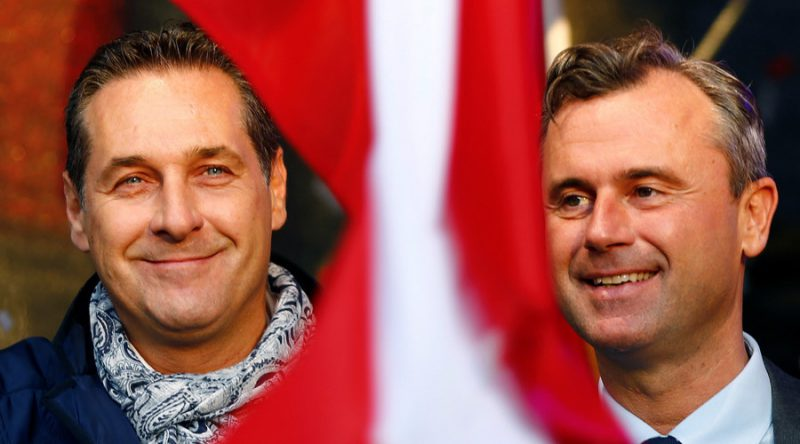 Austrian Freedom Party (FPOe) party leader Heinz-Christian Strache (L) and Freedom Party's presidential candidate Norbert Hofer