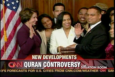 Ellison chose to be sworn into Congress on the quran, a book that calls for the killing of all Christians and Jews