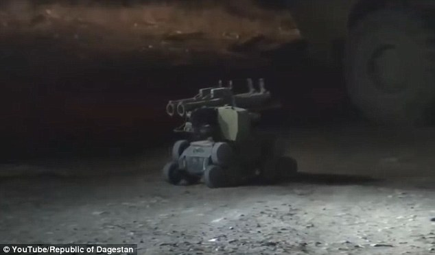 Russian special forces used a machinegun robot (pictured) during an operation to kill the ISIS warlord behind a wave of deadly bombings in the country