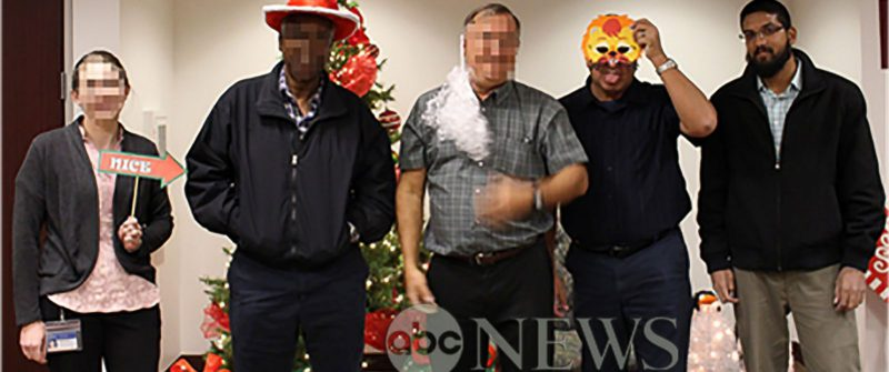 Syed Farook last person on right at the Christmas party
